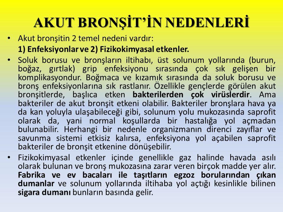 AKUT BRONŞİT'İN NEDENLERİ Akut bronşitin 2 temel nedeni vardır: 1) Enfeksiyonlar ve 2) Fizikokimyasal etkenler. Soluk borusu ve bronşların iltihabı, ü