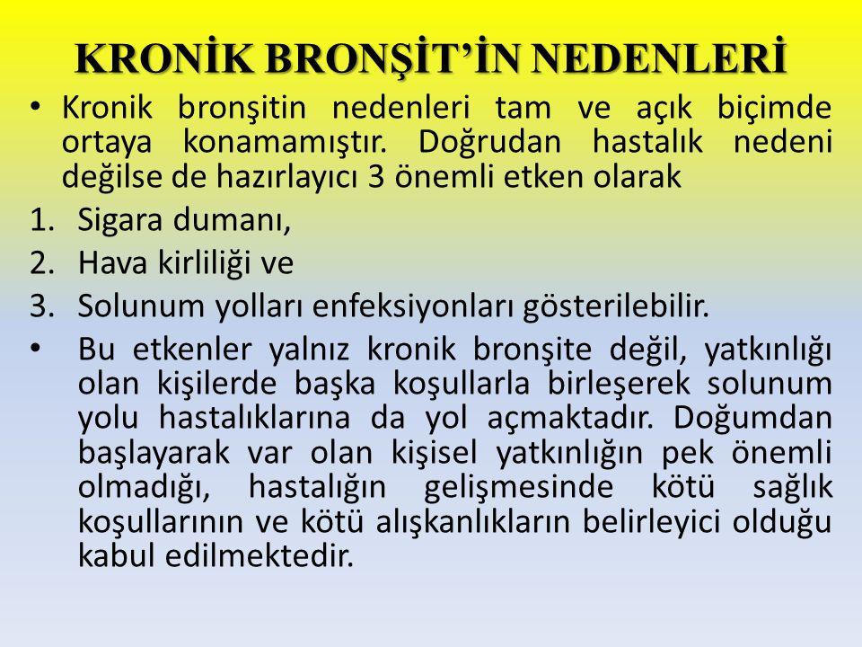 KRONİK BRONŞİT'İN NEDENLERİ Kronik bronşitin nedenleri tam ve açık biçimde ortaya konamamıştır. Doğrudan hastalık nedeni değilse de hazırlayıcı 3 önem