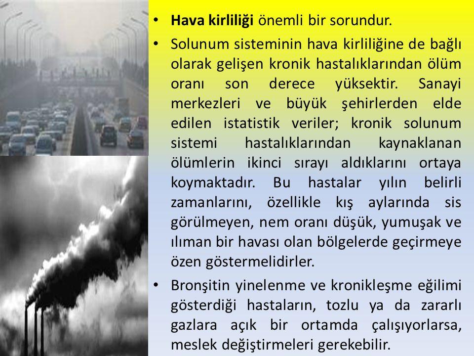 Hava kirliliği önemli bir sorundur. Solunum sisteminin hava kirliliğine de bağlı olarak gelişen kronik hastalıklarından ölüm oranı son derece yüksekti