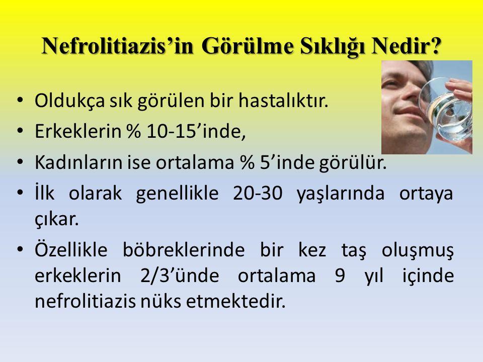 Nefrolitiazis'in Görülme Sıklığı Nedir? Oldukça sık görülen bir hastalıktır. Erkeklerin % 10-15'inde, Kadınların ise ortalama % 5'inde görülür. İlk ol