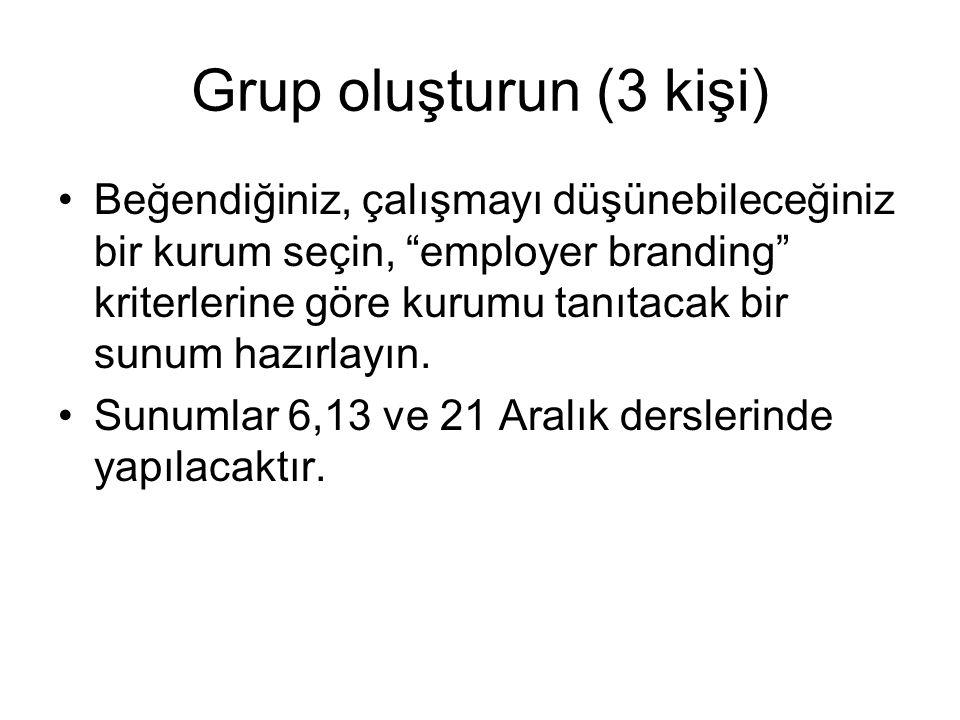 """Grup oluşturun (3 kişi) Beğendiğiniz, çalışmayı düşünebileceğiniz bir kurum seçin, """"employer branding"""" kriterlerine göre kurumu tanıtacak bir sunum ha"""