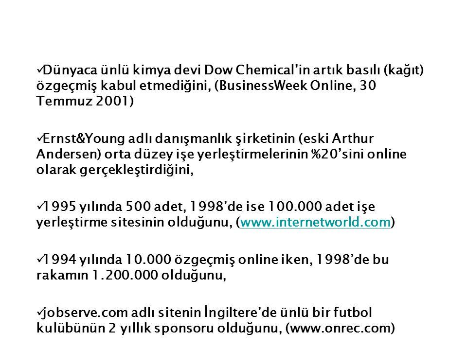 Dünyaca ünlü kimya devi Dow Chemical'in artık basılı (kağıt) özgeçmiş kabul etmediğini, (BusinessWeek Online, 30 Temmuz 2001) Ernst&Young adlı danışma