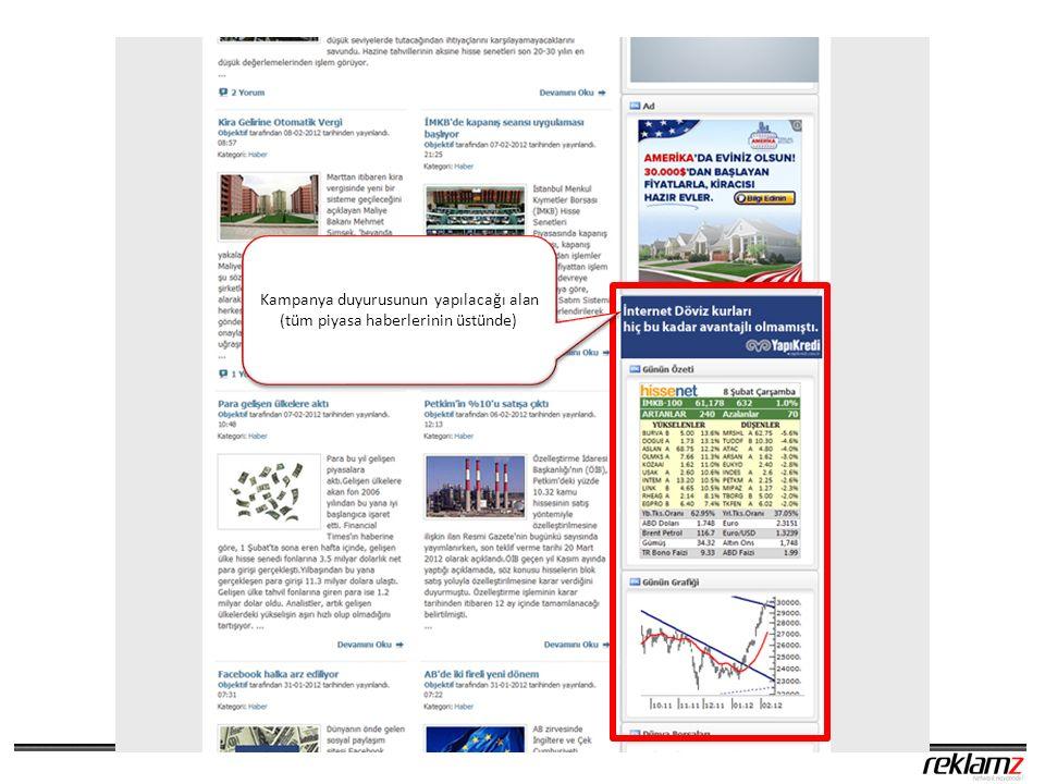 Kampanya duyurusunun yapılacağı alan (tüm piyasa haberlerinin üstünde) Kampanya duyurusunun yapılacağı alan (tüm piyasa haberlerinin üstünde)