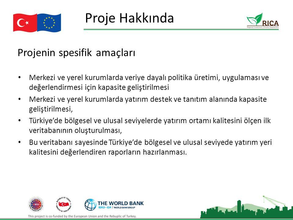 Projenin spesifik amaçları Proje Hakkında Merkezi ve yerel kurumlarda veriye dayalı politika üretimi, uygulaması ve değerlendirmesi için kapasite geliştirilmesi Merkezi ve yerel kurumlarda yatırım destek ve tanıtım alanında kapasite geliştirilmesi, Türkiye'de bölgesel ve ulusal seviyelerde yatırım ortamı kalitesini ölçen ilk veritabanının oluşturulması, Bu veritabanı sayesinde Türkiye'de bölgesel ve ulusal seviyede yatırım yeri kalitesini değerlendiren raporların hazırlanması.