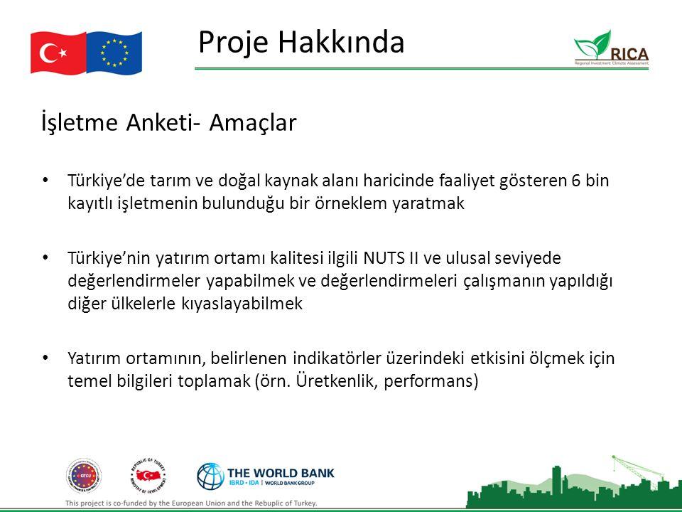 İşletme Anketi- Amaçlar Proje Hakkında Türkiye'de tarım ve doğal kaynak alanı haricinde faaliyet gösteren 6 bin kayıtlı işletmenin bulunduğu bir örneklem yaratmak Türkiye'nin yatırım ortamı kalitesi ilgili NUTS II ve ulusal seviyede değerlendirmeler yapabilmek ve değerlendirmeleri çalışmanın yapıldığı diğer ülkelerle kıyaslayabilmek Yatırım ortamının, belirlenen indikatörler üzerindeki etkisini ölçmek için temel bilgileri toplamak (örn.