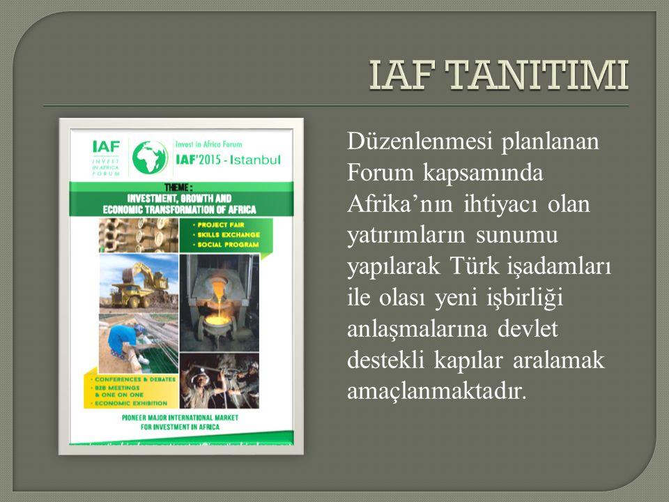 Düzenlenmesi planlanan Forum kapsamında Afrika'nın ihtiyacı olan yatırımların sunumu yapılarak Türk işadamları ile olası yeni işbirliği anlaşmalarına devlet destekli kapılar aralamak amaçlanmaktadır.