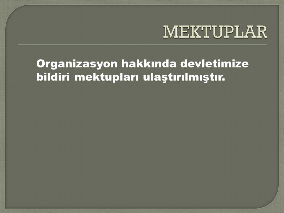 Organizasyon hakkında devletimize bildiri mektupları ulaştırılmıştır.