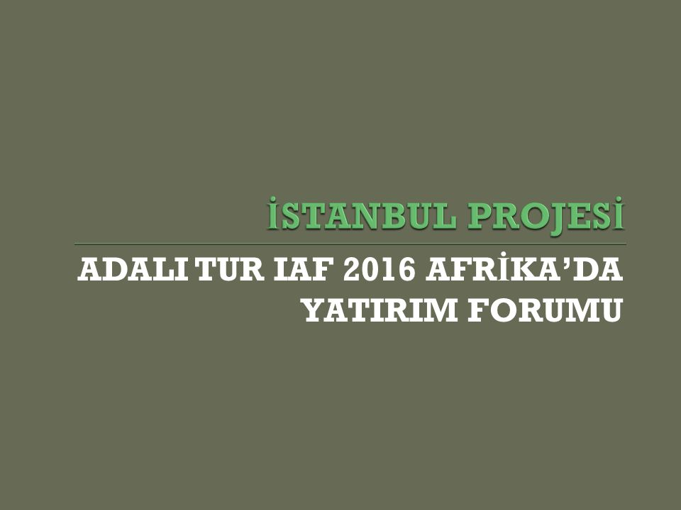  IAF (Invest in Africa Forum) Afrikalı özel sektör ve devlet himayesindeki ş irketlerin, olası yatırımlar ve yeni projeler hakkında Türk ve Avrupalı ş irketlerle bir araya gelmesini amaçlayan, Afrika Birli ğ i tarafından devlet seviyesinde destek görmekte olan geni ş çaplı bir organizasyon projesidir.
