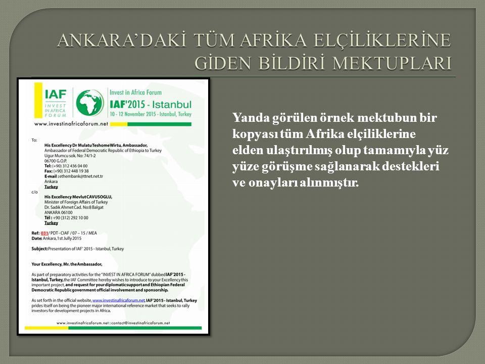 Yanda görülen örnek mektubun bir kopyası tüm Afrika elçiliklerine elden ulaştırılmış olup tamamıyla yüz yüze görüşme sağlanarak destekleri ve onayları alınmıştır.
