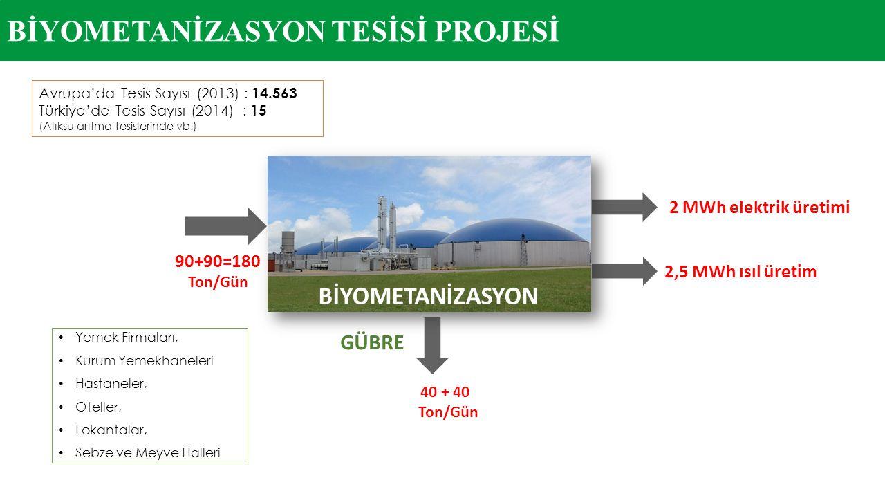Avrupa'da Tesis Sayısı (2013) : 14.563 Türkiye'de Tesis Sayısı (2014) : 15 (Atıksu arıtma Tesislerinde vb.) Yemek Firmaları, Kurum Yemekhaneleri Hasta