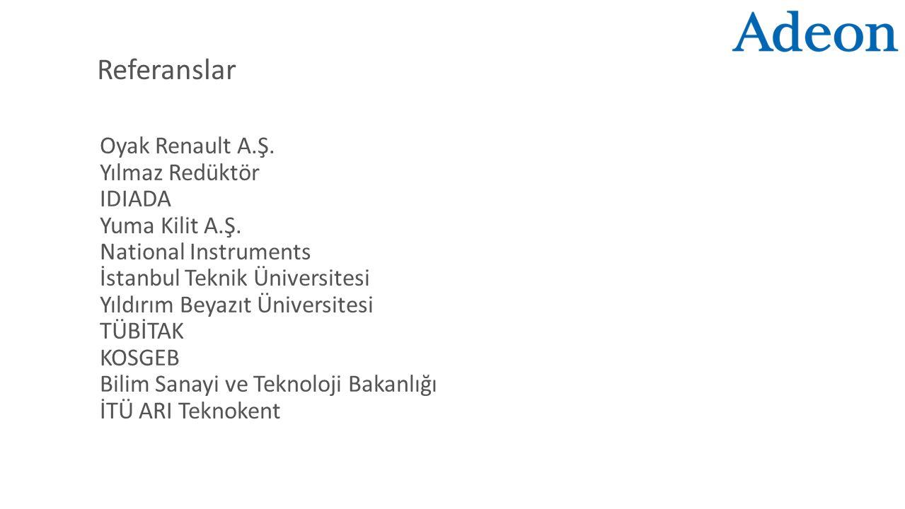 Referanslar Oyak Renault A.Ş. Yılmaz Redüktör IDIADA Yuma Kilit A.Ş. National Instruments İstanbul Teknik Üniversitesi Yıldırım Beyazıt Üniversitesi T