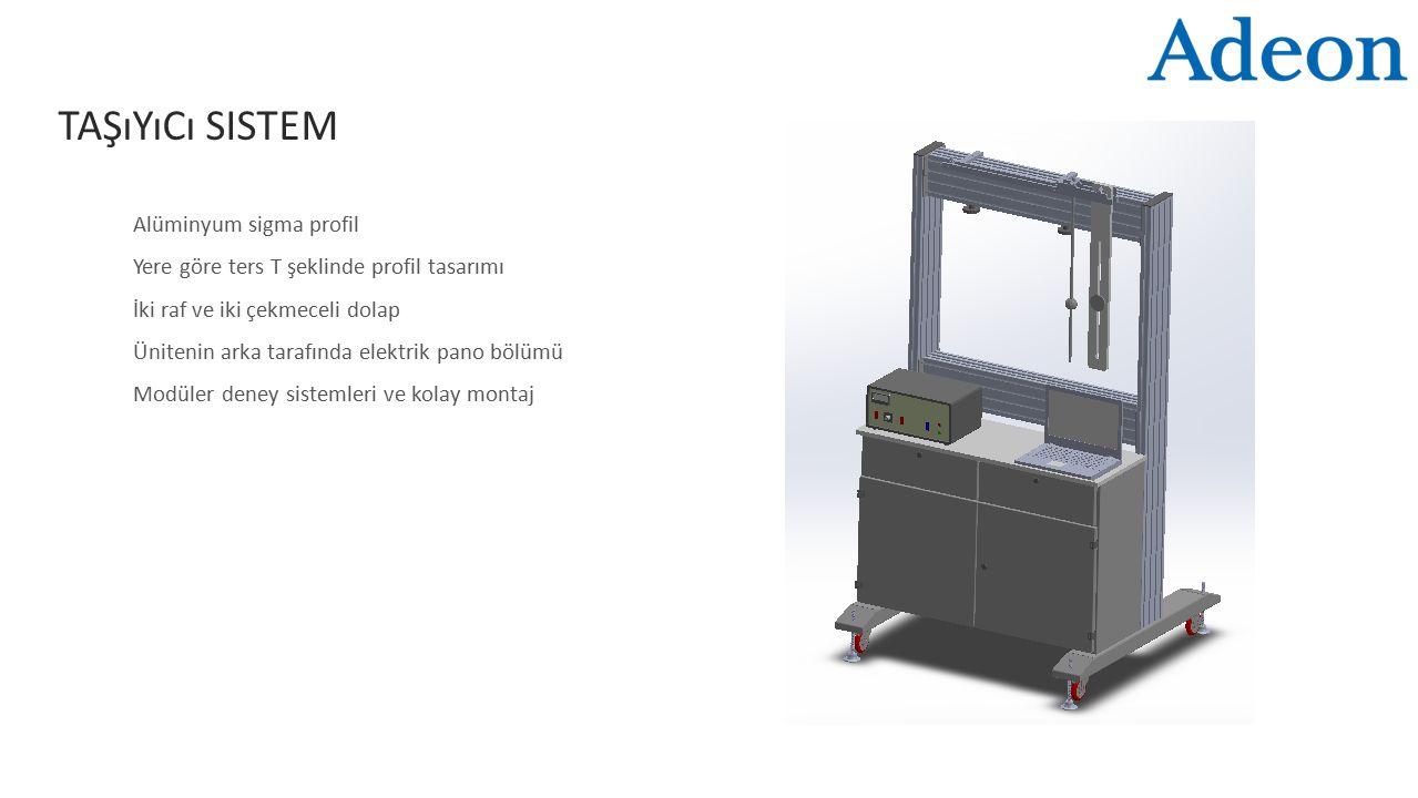 TAŞıYıCı SISTEM Alüminyum sigma profil Yere göre ters T şeklinde profil tasarımı İki raf ve iki çekmeceli dolap Ünitenin arka tarafında elektrik pano