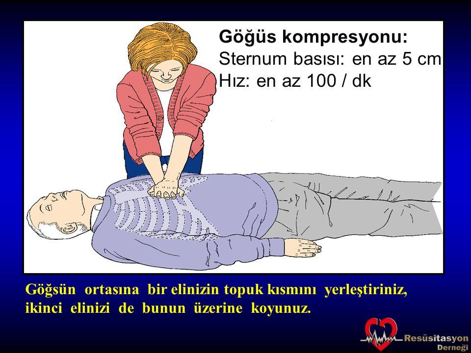 Göğüs kompresyonu: Sternum basısı: en az 5 cm Hız: en az 100 / dk Göğsün ortasına bir elinizin topuk kısmını yerleştiriniz, ikinci elinizi de bunun üz