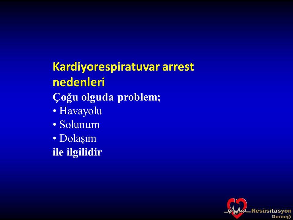 Kardiyorespiratuvar arrest nedenleri Havayolu problemleri Obstrüksiyona yol açan: SSS depresyonu Kan Kusmuk Yabancı cisim Travma Enfeksiyon İnflamasyon Laringospazm Bronkospazm