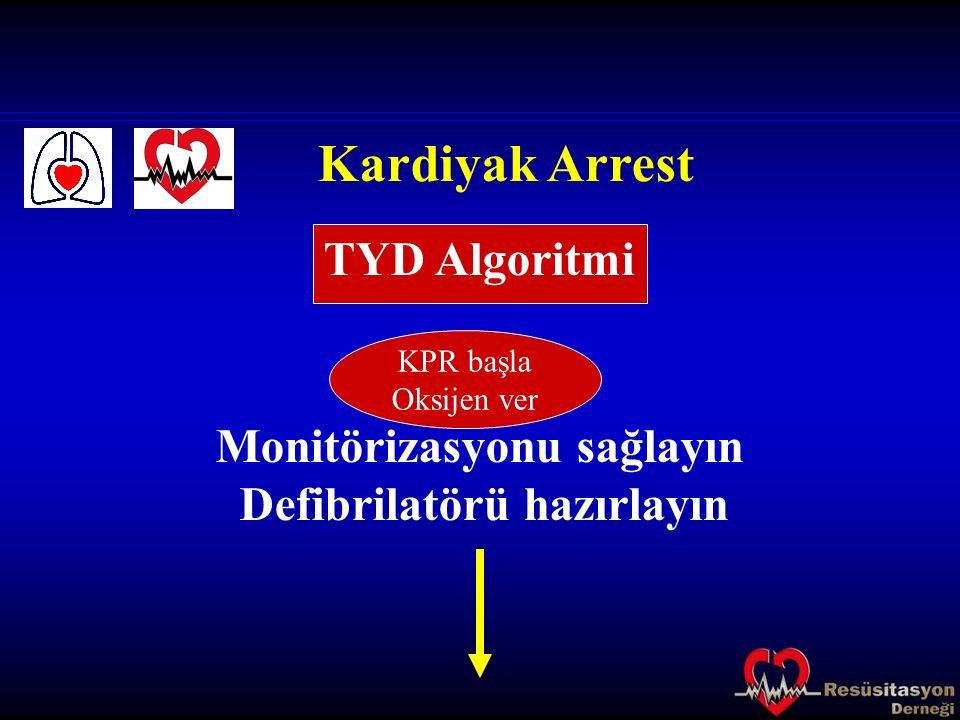 Kardiyak Arrest Monitörizasyonu sağlayın Defibrilatörü hazırlayın TYD Algoritmi KPR başla Oksijen ver