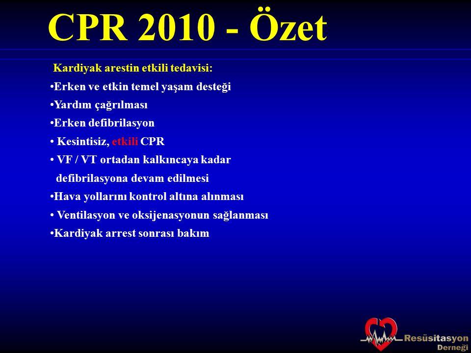 CPR 2010 - Özet Kardiyak arestin etkili tedavisi: Erken ve etkin temel yaşam desteği Yardım çağrılması Erken defibrilasyon Kesintisiz, etkili CPR VF /