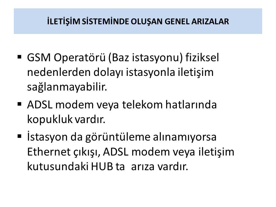 İLETİŞİM SİSTEMİNDE OLUŞAN GENEL ARIZALAR  GSM Operatörü (Baz istasyonu) fiziksel nedenlerden dolayı istasyonla iletişim sağlanmayabilir.  ADSL mode