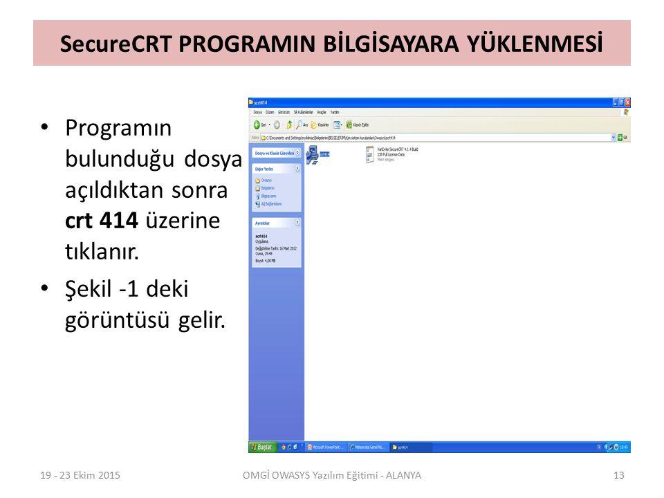 SecureCRT PROGRAMIN BİLGİSAYARA YÜKLENMESİ 19 - 23 Ekim 2015OMGİ OWASYS Yazılım Eğitimi - ALANYA13 Programın bulunduğu dosya açıldıktan sonra crt 414 üzerine tıklanır.