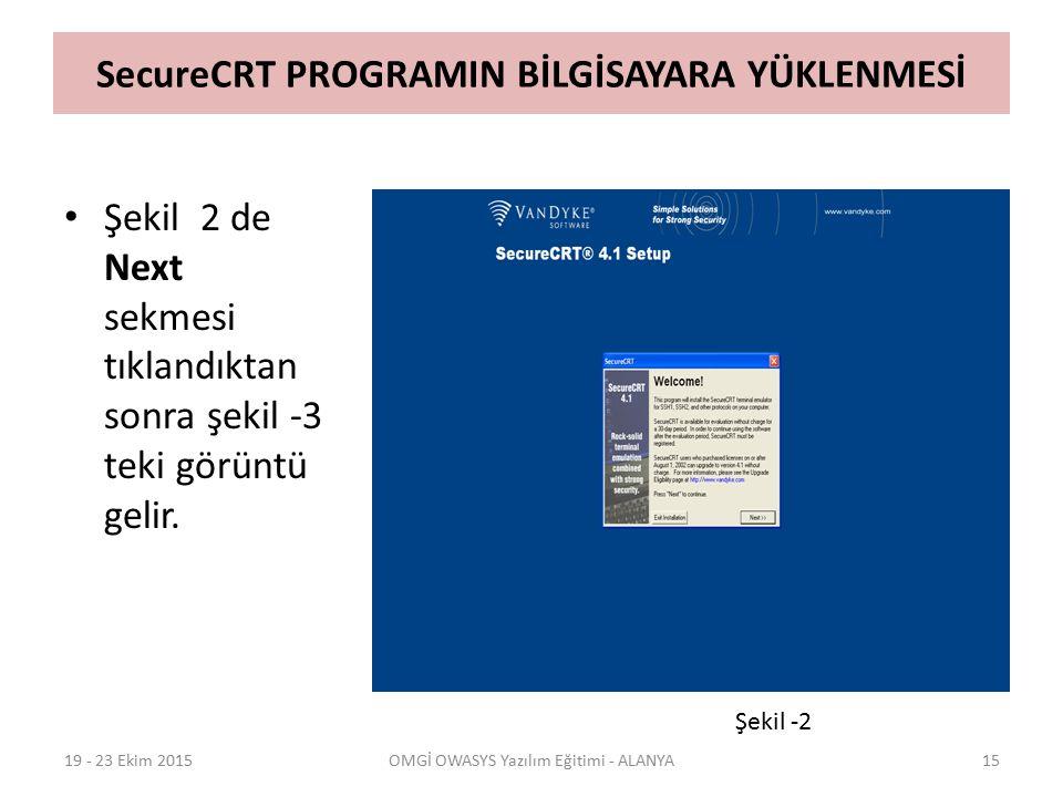 SecureCRT PROGRAMIN BİLGİSAYARA YÜKLENMESİ Şekil 2 de Next sekmesi tıklandıktan sonra şekil -3 teki görüntü gelir. 19 - 23 Ekim 2015OMGİ OWASYS Yazılı