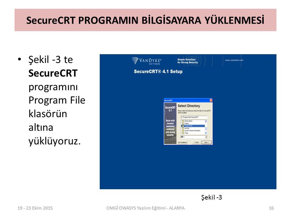 SecureCRT PROGRAMIN BİLGİSAYARA YÜKLENMESİ Şekil -3 te SecureCRT programını Program File klasörün altına yüklüyoruz. 19 - 23 Ekim 2015OMGİ OWASYS Yazı