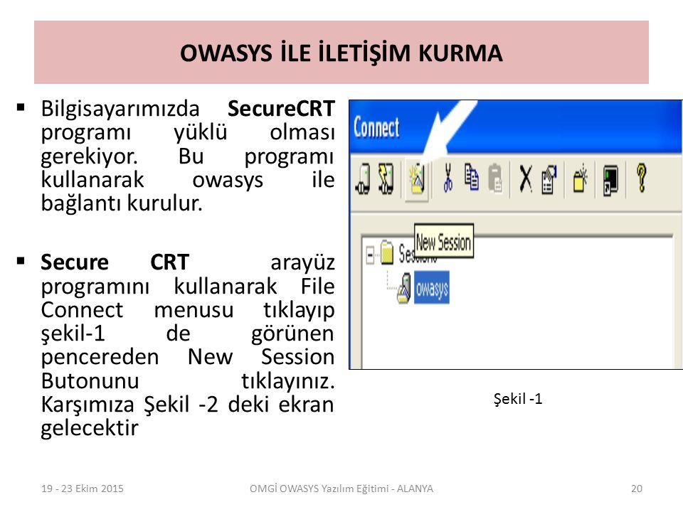 OWASYS İLE İLETİŞİM KURMA  Bilgisayarımızda SecureCRT programı yüklü olması gerekiyor. Bu programı kullanarak owasys ile bağlantı kurulur.  Secure C