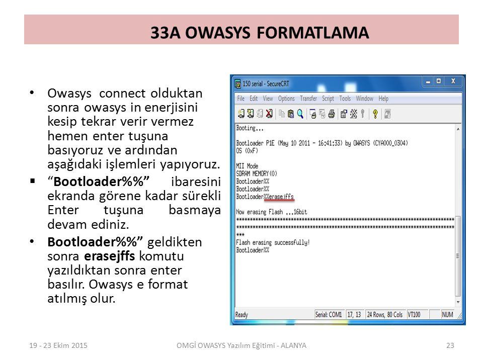33A OWASYS FORMATLAMA Owasys connect olduktan sonra owasys in enerjisini kesip tekrar verir vermez hemen enter tuşuna basıyoruz ve ardından aşağıdaki işlemleri yapıyoruz.