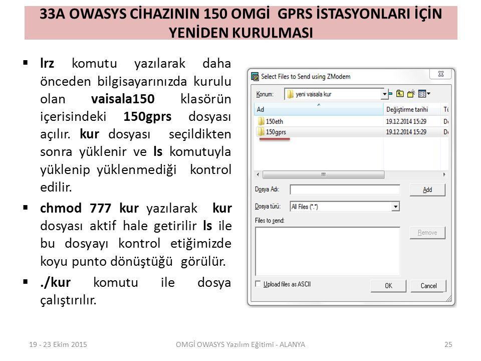 33A OWASYS CİHAZININ 150 OMGİ GPRS İSTASYONLARI İÇİN YENİDEN KURULMASI  lrz komutu yazılarak daha önceden bilgisayarınızda kurulu olan vaisala150 klasörün içerisindeki 150gprs dosyası açılır.