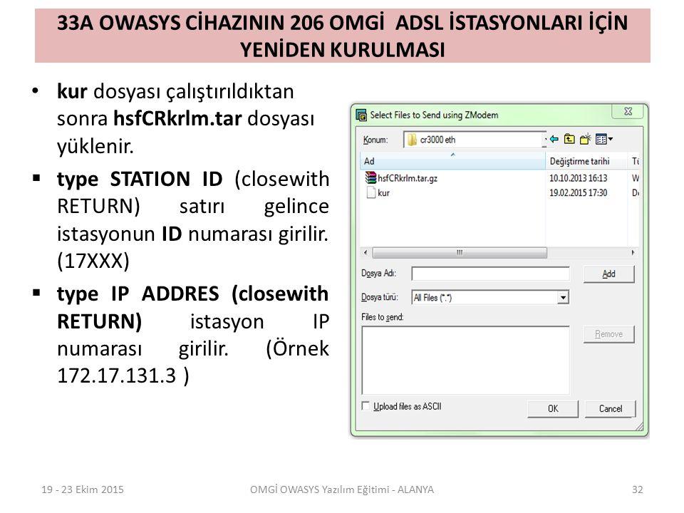 33A OWASYS CİHAZININ 206 OMGİ ADSL İSTASYONLARI İÇİN YENİDEN KURULMASI kur dosyası çalıştırıldıktan sonra hsfCRkrlm.tar dosyası yüklenir.  type STATI