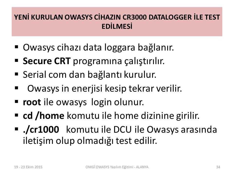 YENİ KURULAN OWASYS CİHAZIN CR3000 DATALOGGER İLE TEST EDİLMESİ  Owasys cihazı data loggara bağlanır.  Secure CRT programına çalıştırılır.  Serial
