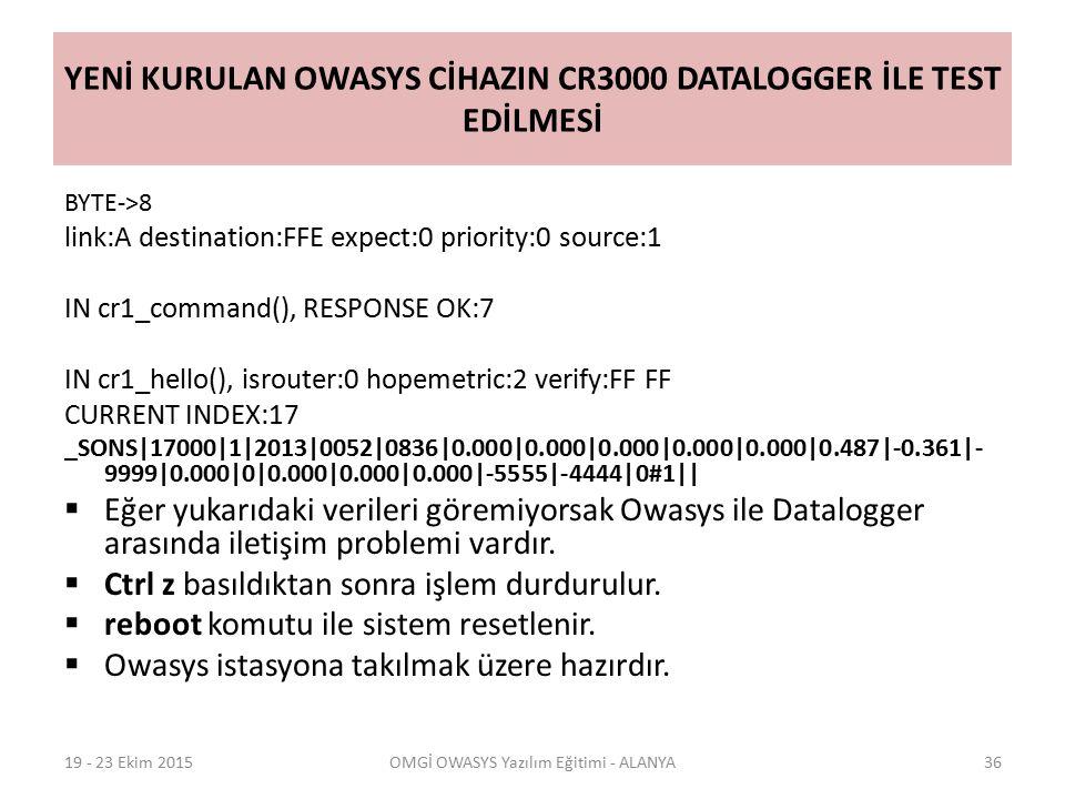 YENİ KURULAN OWASYS CİHAZIN CR3000 DATALOGGER İLE TEST EDİLMESİ BYTE->8 link:A destination:FFE expect:0 priority:0 source:1 IN cr1_command(), RESPONSE OK:7 IN cr1_hello(), isrouter:0 hopemetric:2 verify:FF FF CURRENT INDEX:17 _SONS|17000|1|2013|0052|0836|0.000|0.000|0.000|0.000|0.000|0.487|-0.361|- 9999|0.000|0|0.000|0.000|0.000|-5555|-4444|0#1||  Eğer yukarıdaki verileri göremiyorsak Owasys ile Datalogger arasında iletişim problemi vardır.