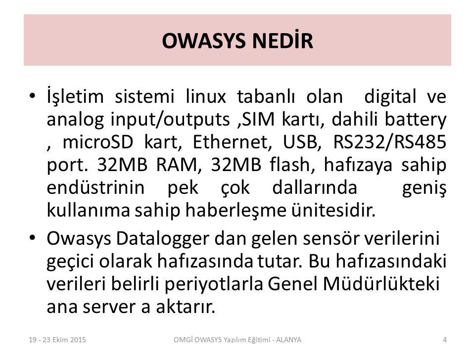 YENİ KURULAN OWASYS CİHAZIN CR3000 DATALOGGER İLE TEST EDİLMESİ  last enter son veriler kontrol edilir  dump enter  dump 1 enter (Dakikalık veri alınır)  Dump 2 enter (10 Dakikalık veri alınır)  Dump 3 enter (Günlük veri alınır)  Komutları ile aşağıdaki veriler alınıyorsa Datalogger ile Owasys arasında iletişim vardır.