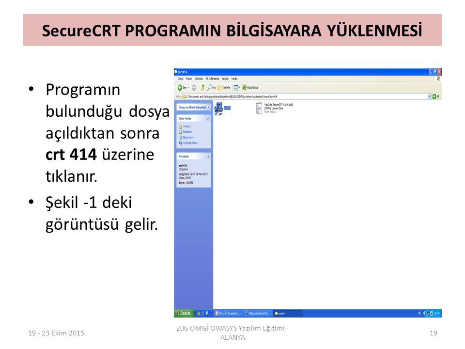 SecureCRT PROGRAMIN BİLGİSAYARA YÜKLENMESİ 19 - 23 Ekim 2015 206 OMGİ OWASYS Yazılım Eğitimi - ALANYA 19 Programın bulunduğu dosya açıldıktan sonra cr