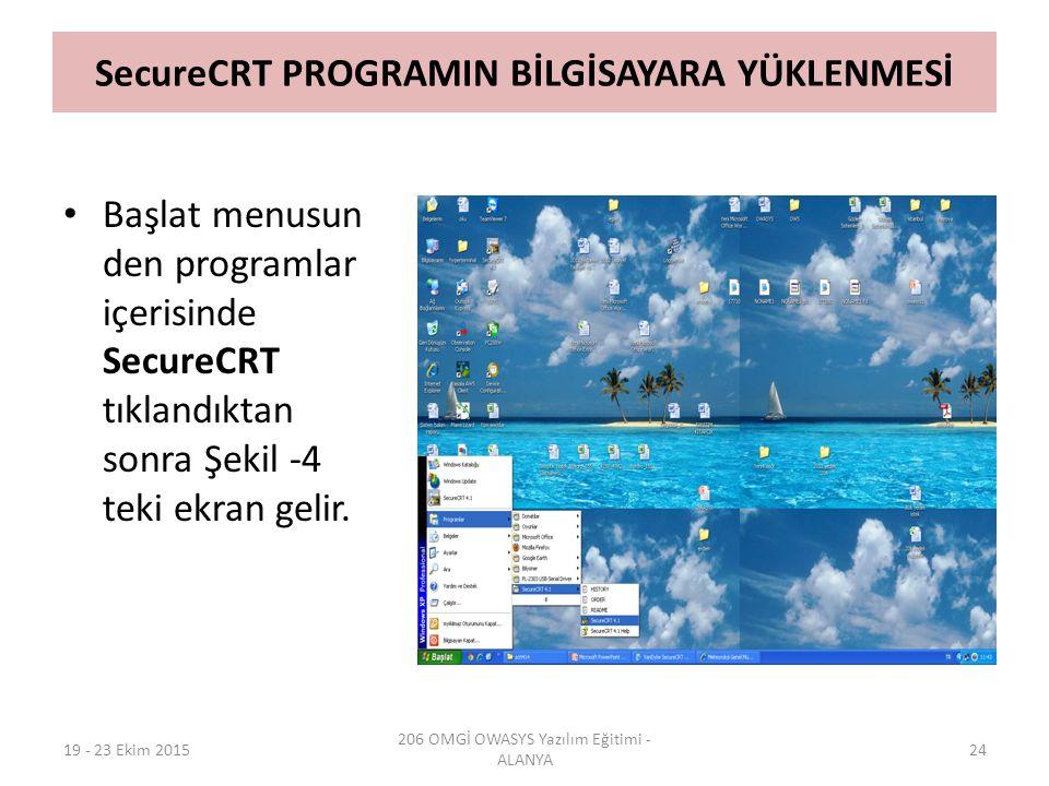 SecureCRT PROGRAMIN BİLGİSAYARA YÜKLENMESİ Başlat menusun den programlar içerisinde SecureCRT tıklandıktan sonra Şekil -4 teki ekran gelir. 19 - 23 Ek
