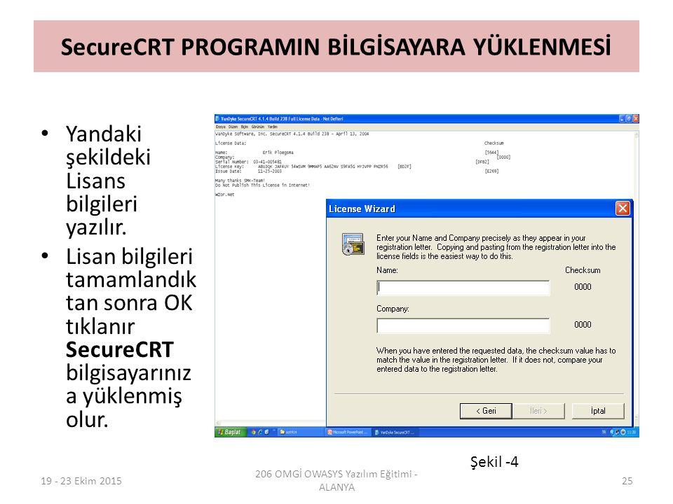 SecureCRT PROGRAMIN BİLGİSAYARA YÜKLENMESİ Yandaki şekildeki Lisans bilgileri yazılır. Lisan bilgileri tamamlandık tan sonra OK tıklanır SecureCRT bil