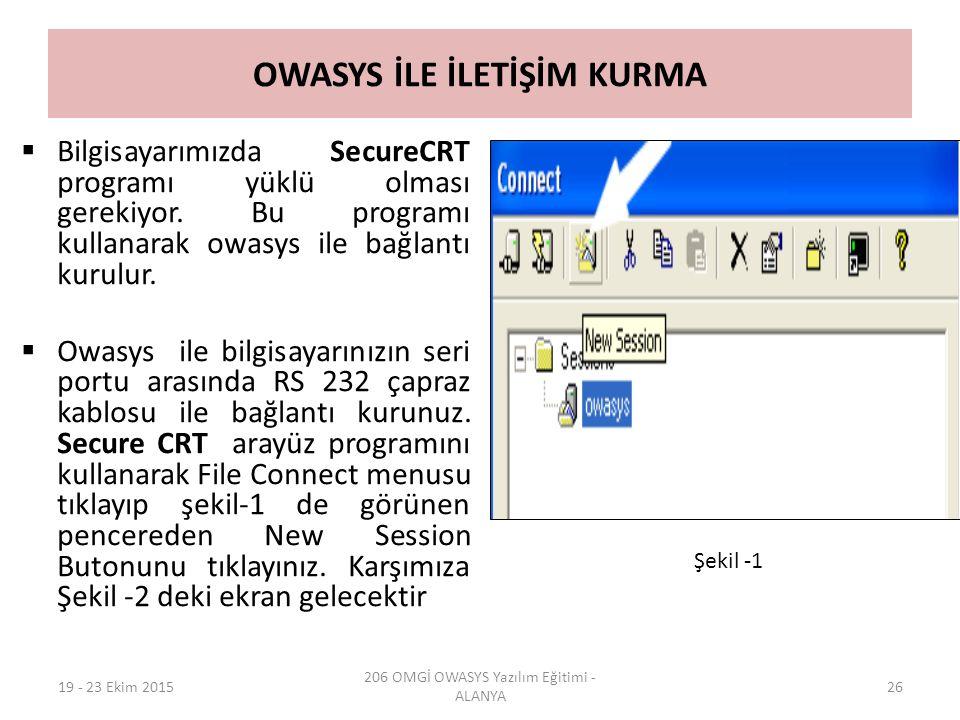 OWASYS İLE İLETİŞİM KURMA  Bilgisayarımızda SecureCRT programı yüklü olması gerekiyor. Bu programı kullanarak owasys ile bağlantı kurulur.  Owasys i
