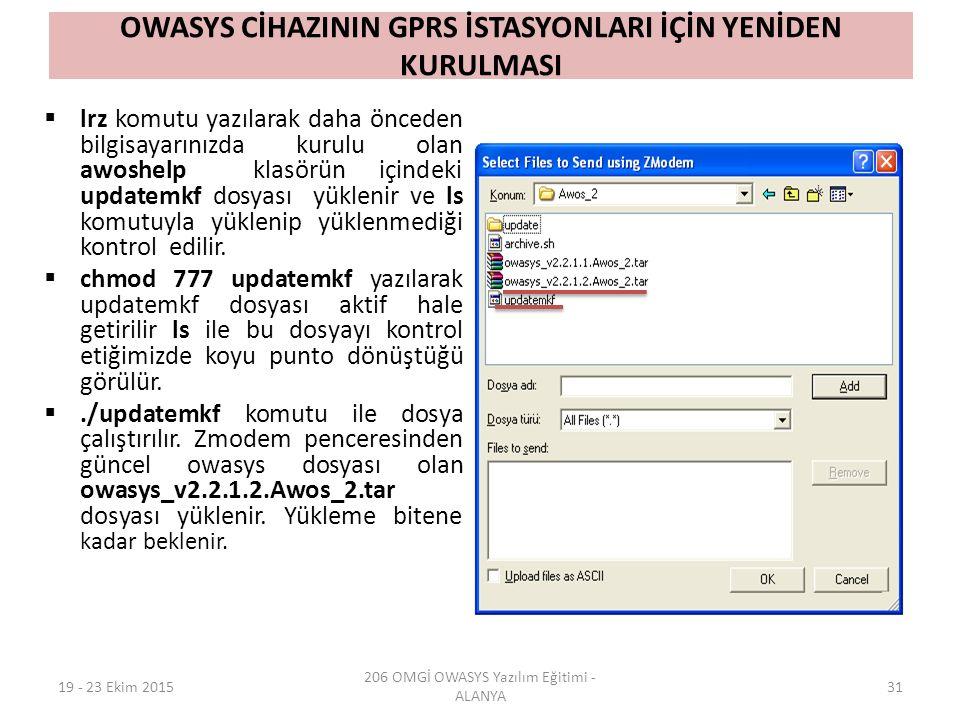 OWASYS CİHAZININ GPRS İSTASYONLARI İÇİN YENİDEN KURULMASI  lrz komutu yazılarak daha önceden bilgisayarınızda kurulu olan awoshelp klasörün içindeki updatemkf dosyası yüklenir ve ls komutuyla yüklenip yüklenmediği kontrol edilir.