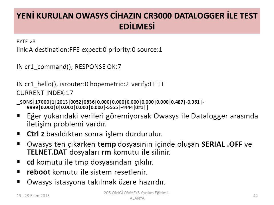 YENİ KURULAN OWASYS CİHAZIN CR3000 DATALOGGER İLE TEST EDİLMESİ BYTE->8 link:A destination:FFE expect:0 priority:0 source:1 IN cr1_command(), RESPONSE OK:7 IN cr1_hello(), isrouter:0 hopemetric:2 verify:FF FF CURRENT INDEX:17 _ SONS|17000|1|2013|0052|0836|0.000|0.000|0.000|0.000|0.000|0.487|-0.361|- 9999|0.000|0|0.000|0.000|0.000|-5555|-4444|0#1||  Eğer yukarıdaki verileri göremiyorsak Owasys ile Datalogger arasında iletişim problemi vardır.