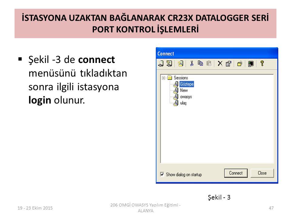 İSTASYONA UZAKTAN BAĞLANARAK CR23X DATALOGGER SERİ PORT KONTROL İŞLEMLERİ  Şekil -3 de connect menüsünü tıkladıktan sonra ilgili istasyona login olunur.