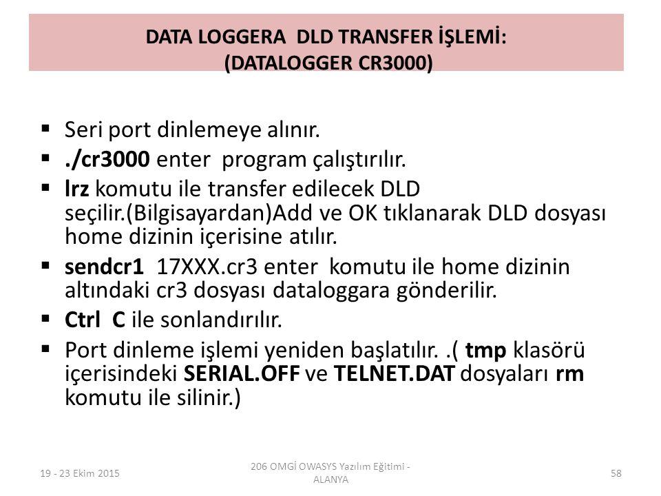 DATA LOGGERA DLD TRANSFER İŞLEMİ: (DATALOGGER CR3000)  Seri port dinlemeye alınır. ./cr3000 enter program çalıştırılır.  lrz komutu ile transfer ed