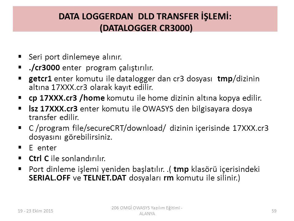 DATA LOGGERDAN DLD TRANSFER İŞLEMİ: (DATALOGGER CR3000)  Seri port dinlemeye alınır. ./cr3000 enter program çalıştırılır.  getcr1 enter komutu ile