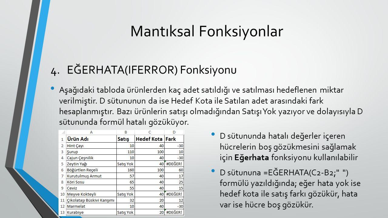 Mantıksal Fonksiyonlar Aşağıdaki tabloda ürünlerden kaç adet satıldığı ve satılması hedeflenen miktar verilmiştir. D sütununun da ise Hedef Kota ile S
