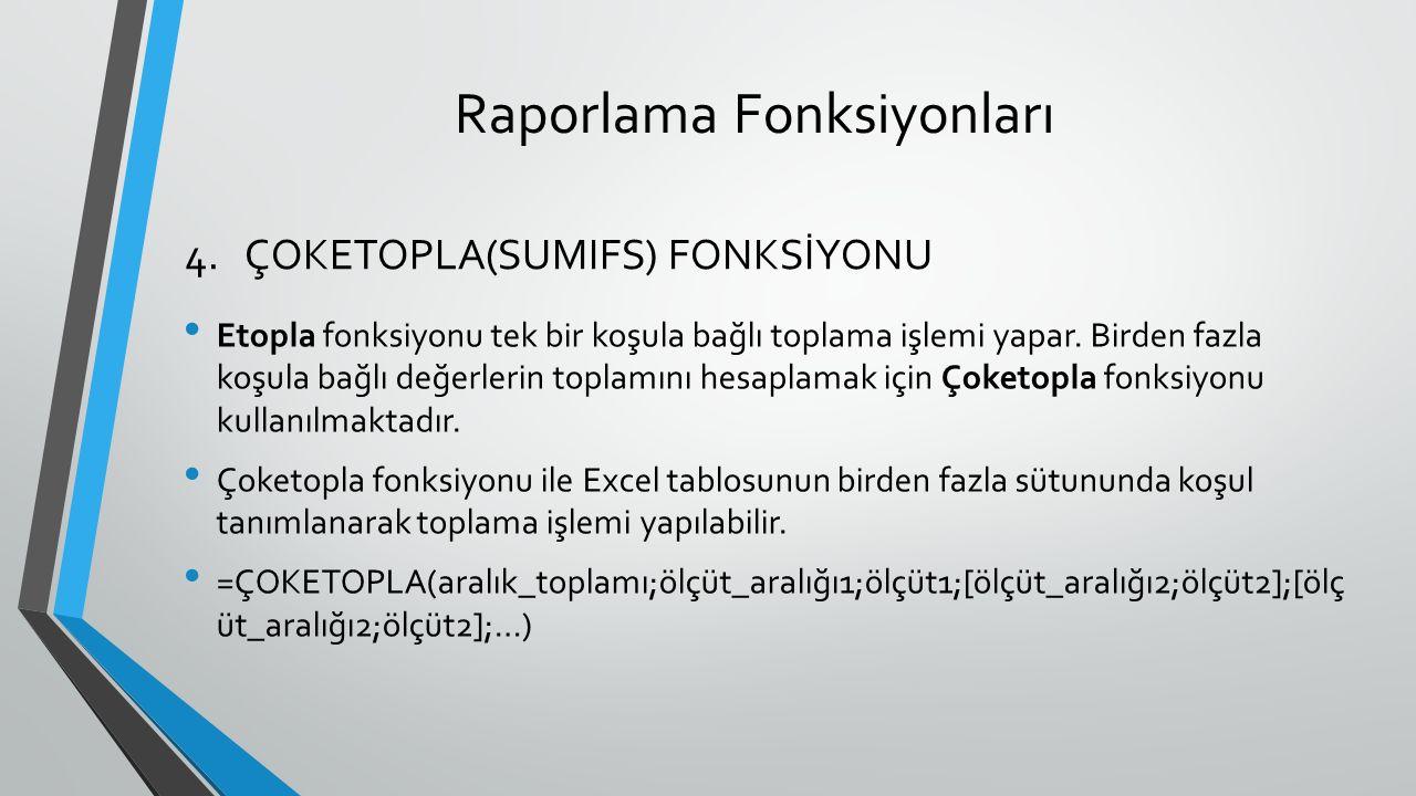 Raporlama Fonksiyonları Etopla fonksiyonu tek bir koşula bağlı toplama işlemi yapar. Birden fazla koşula bağlı değerlerin toplamını hesaplamak için Ço