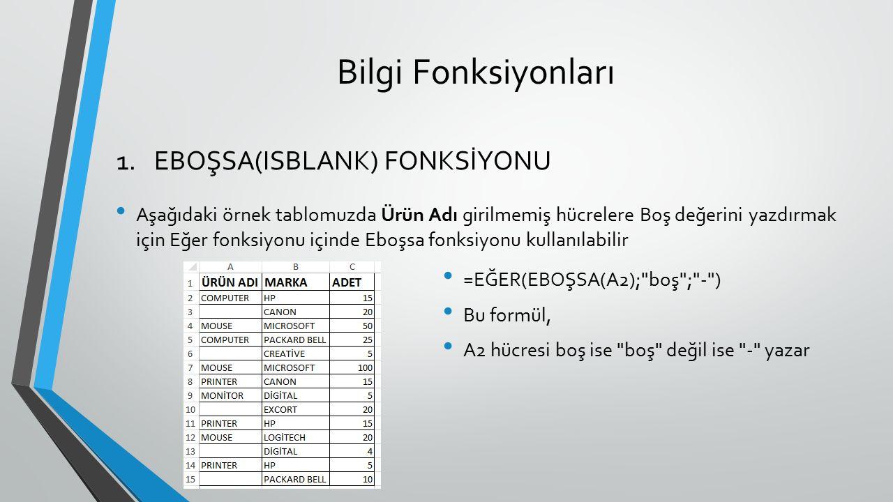 Bilgi Fonksiyonları Aşağıdaki örnek tablomuzda Ürün Adı girilmemiş hücrelere Boş değerini yazdırmak için Eğer fonksiyonu içinde Eboşsa fonksiyonu kull