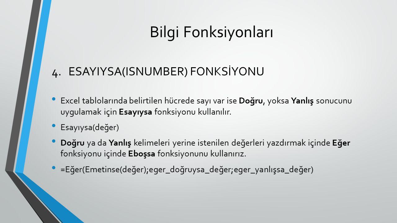 Bilgi Fonksiyonları Excel tablolarında belirtilen hücrede sayı var ise Doğru, yoksa Yanlış sonucunu uygulamak için Esayıysa fonksiyonu kullanılır. Esa