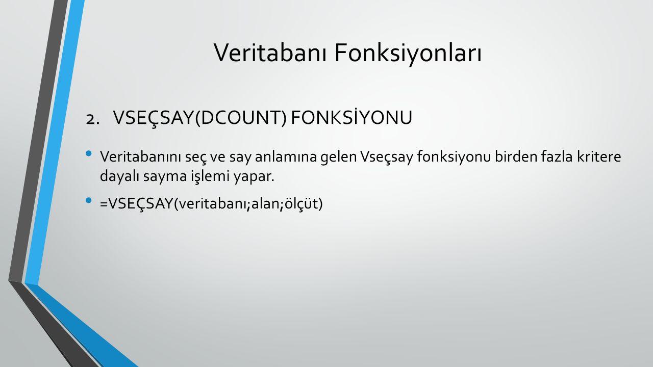 Veritabanı Fonksiyonları Veritabanını seç ve say anlamına gelen Vseçsay fonksiyonu birden fazla kritere dayalı sayma işlemi yapar. =VSEÇSAY(veritabanı