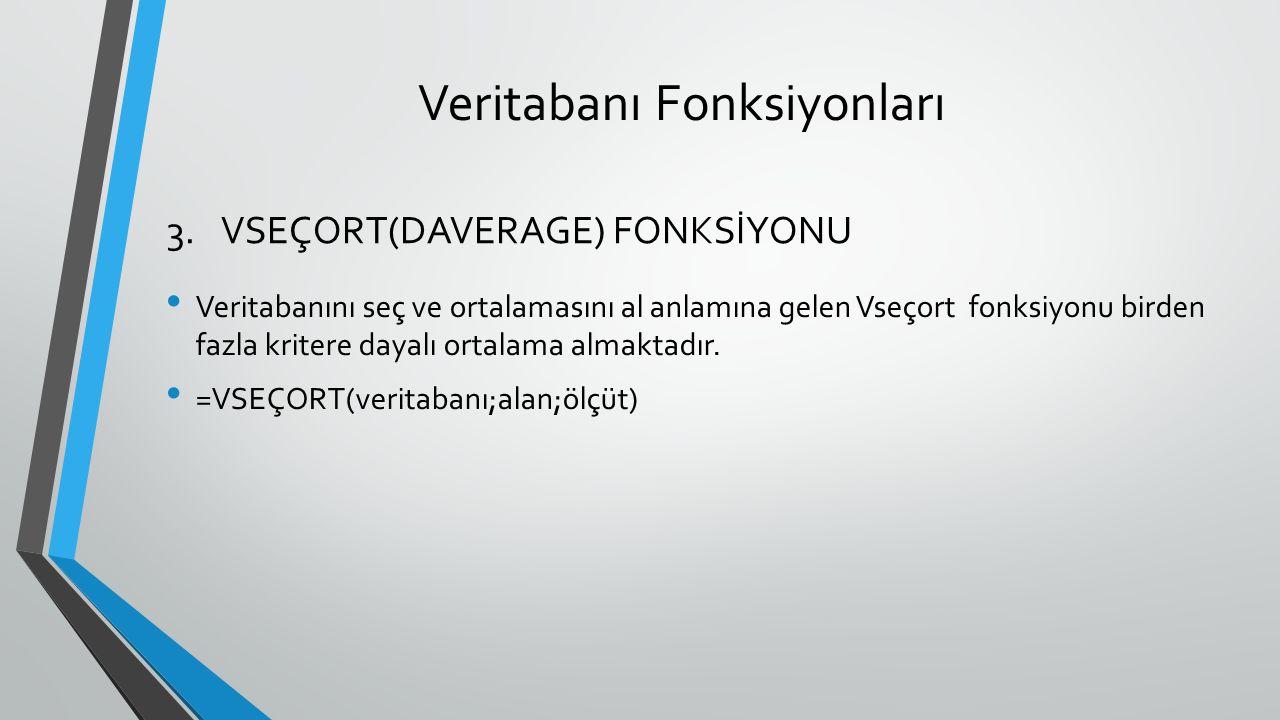 Veritabanı Fonksiyonları Veritabanını seç ve ortalamasını al anlamına gelen Vseçort fonksiyonu birden fazla kritere dayalı ortalama almaktadır. =VSEÇO
