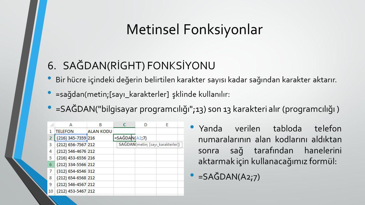 Metinsel Fonksiyonlar Bir hücre içindeki değerin belirtilen karakter sayısı kadar sağından karakter aktarır. =sağdan(metin;[sayı_karakterler] şklinde