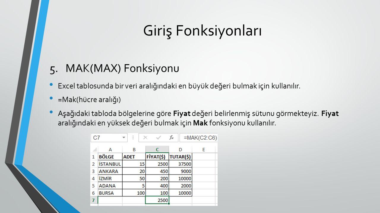 Giriş Fonksiyonları Excel tablosunda bir veri aralığındaki en büyük değeri bulmak için kullanılır. =Mak(hücre aralığı) Aşağıdaki tabloda bölgelerine g