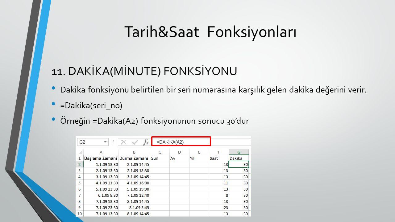 Tarih&Saat Fonksiyonları Dakika fonksiyonu belirtilen bir seri numarasına karşılık gelen dakika değerini verir. =Dakika(seri_no) Örneğin =Dakika(A2) f