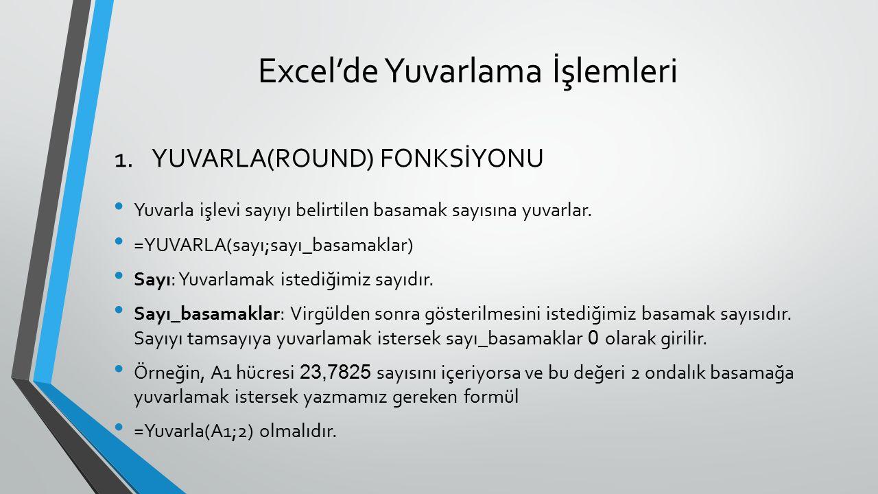 Excel'de Yuvarlama İşlemleri Yuvarla işlevi sayıyı belirtilen basamak sayısına yuvarlar. =YUVARLA(sayı;sayı_basamaklar) Sayı: Yuvarlamak istediğimiz s